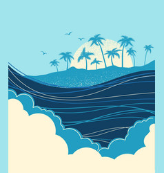 big ocean waves and tropical island with palms vector image
