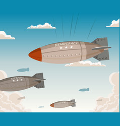 Democracy falling from sky vector