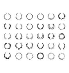 Big collection of black laurel wreaths vector
