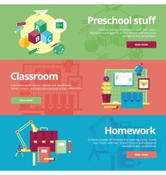 Set of flat design concepts for preschool vector