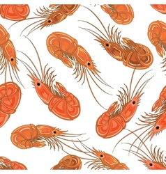 Seamless background with the prepared shrimps vector