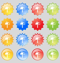 Mailbox icon sign big set of 16 colorful modern vector