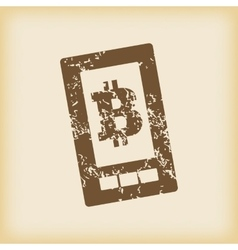 Grungy bitcoin on screen icon vector