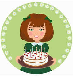 Girl with sweet cake vector