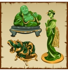 Figures from malachite buddha geisha and animal vector