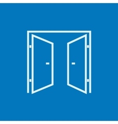 Open doors line icon vector image