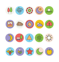 Nature colored icons 1 vector