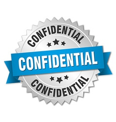 Confidential 3d silver badge with blue ribbon vector