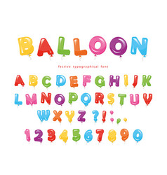 Balloon colorful font festive glossy abc letters vector