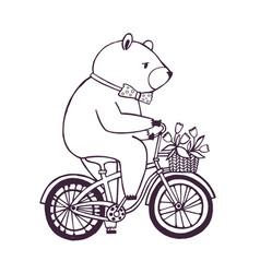 Bear on the bicycle with basket and flowers vector