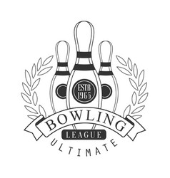 Bowling league ultimate vintage label black and vector