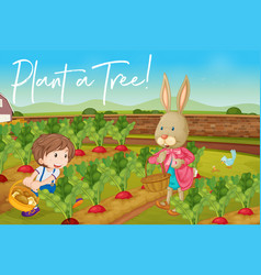 Boy and bunny in vegetable garden and phrase vector