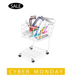 Builder tools in cyber monday shopping cart vector