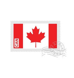 canada flag old postage stamp vector image