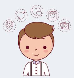 Cartoon bridegroom icon vector
