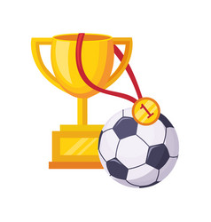 champions cup ball and medal set of school and vector image