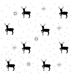 deer and christmas tree on gray seamless pattern vector image