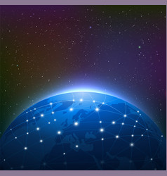 earth at night among starry sky vector image vector image