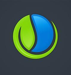 ecology leaf water symbol logo vector image vector image