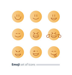 emoji icons emoticon symbols face expression signs vector image vector image