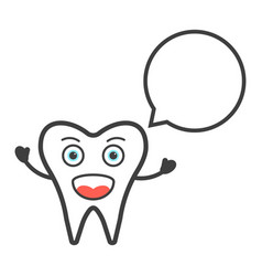 funny tooth character with speech bubble vector image