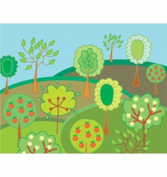 garden with trees vector image vector image