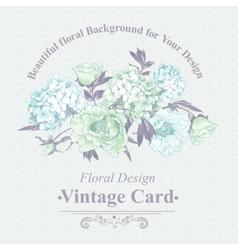Gentle blue vintage floral greeting card vector
