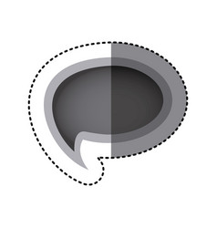 Grayscale sticker of cloud speech with tail vector