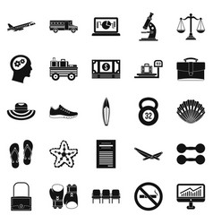 Handbag icons set simple style vector