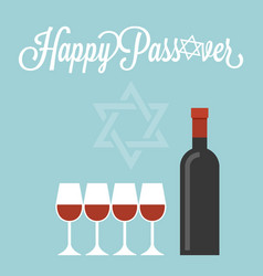 happy passover poster with wine bottle vector image