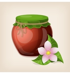 Jar of honey with leaves and a flower vector image
