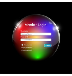login interface in a colorful sphere vector image vector image