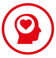 Love thinking head rounded icon vector
