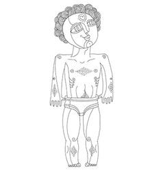 Monochrome of nude man adam concept hand d vector