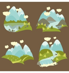 Mountain landscape icons set vector image