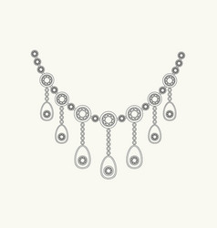 necklace line drawing vector image vector image