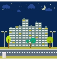 Night city scape panorama horizontal downtown vector