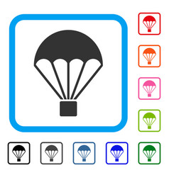 Parachute framed icon vector