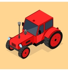 Red tractor isometric view vector