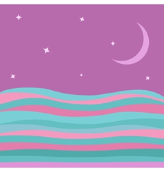 Sea ocean water with blue pink waves violet sky vector