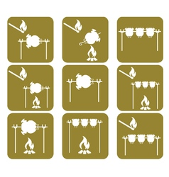 Set of griled chicken icons vector