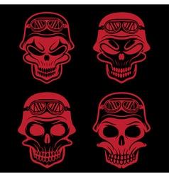 skull in helmet set biker theme design template vector image