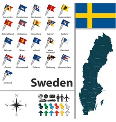 Sweden map with flags vector