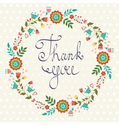 Thank you card with floral wreath vector