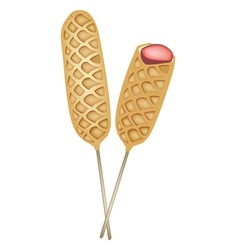Two freshly corn dogs or hot dog waffles vector