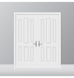 White closed door with frame isolated vector