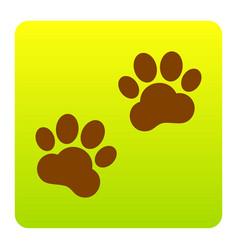 animal tracks sign  brown icon at green vector image