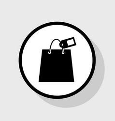 Shopping bag sign with tag  flat black vector