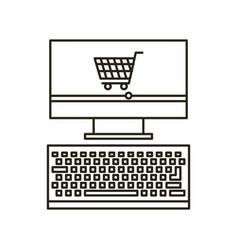 Computer desktop flat line icon vector