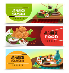 Japanese food banners vector